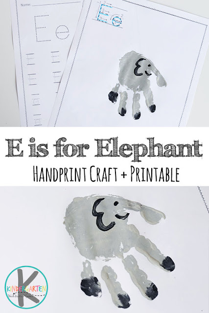 Super cute E is for Elephant letter E crafts, alphabet practice for kindergarten, letter e activities for preschool, and alphabet handart projects for kids from toddler, preschool, to kindergarten
