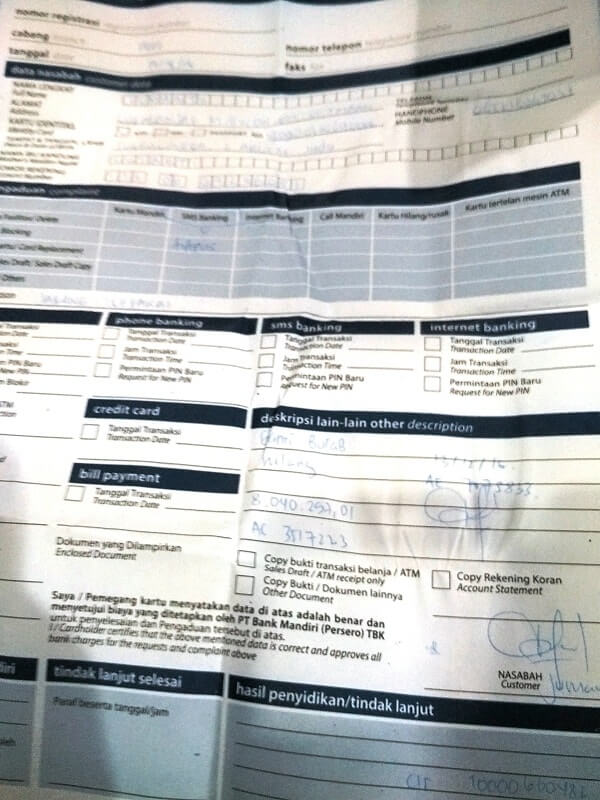 form penggantian buku tabungan mandiri yang hilang