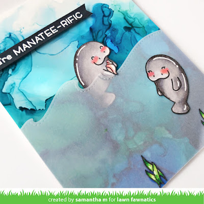 You're Manatee-rific Card by Samantha Mann for Lawn Fawnatics Challenge, Lwn Fawn, Manatee, Alcohol Inks, Cards, Card Making, Handmade Cards, Die Cuts, #lawnfawnatics #lawnfawn #alcoholinks #manatee #cardmaking #handmadecards