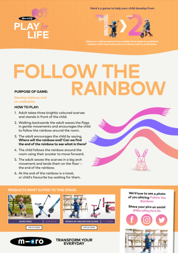 Micro Scooter follow the rainbow deliberate play activity pdf