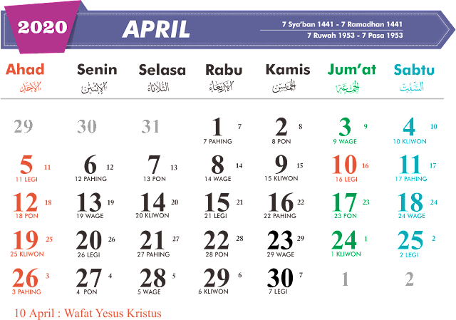 Download Kalender April 2020