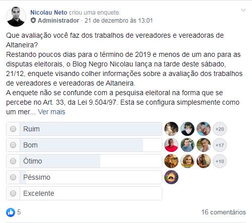 Trabalho de vereadores e vereadoras de Altaneira em 2019 é avaliado de forma positiva por internautas