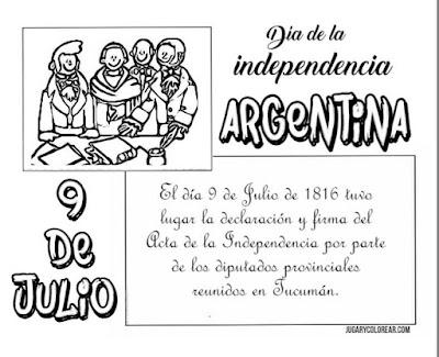 Colorear declaración de la  independencia de Argentina