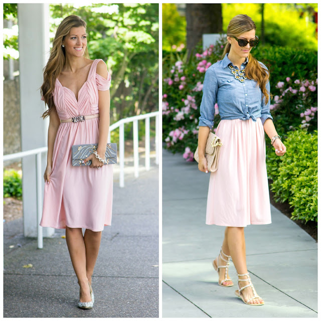 2 ways to wear again pink short bridesmaid dresses