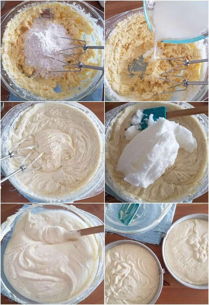 Preparación de la mezcla para la torta de vainilla, collage de 6 fotos