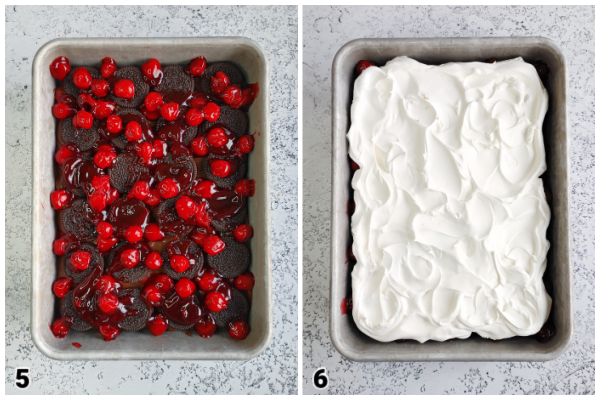 Black Forest Oreo Dessert!  Step-by-step instructions for a super easy no-bake icebox cake layered with Oreo cookies, chocolate pudding and cherry pie filling.