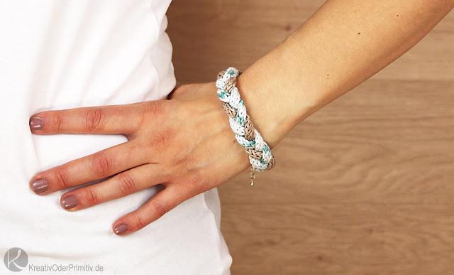 Kreativ oder primitiv strickliesel schmuck armband zur kette - Strickliesel selber machen ...