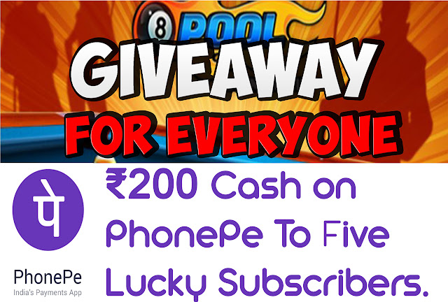 PhonePe give away and 8 BALL POOL GIVEAWAY UNIQUE ID :