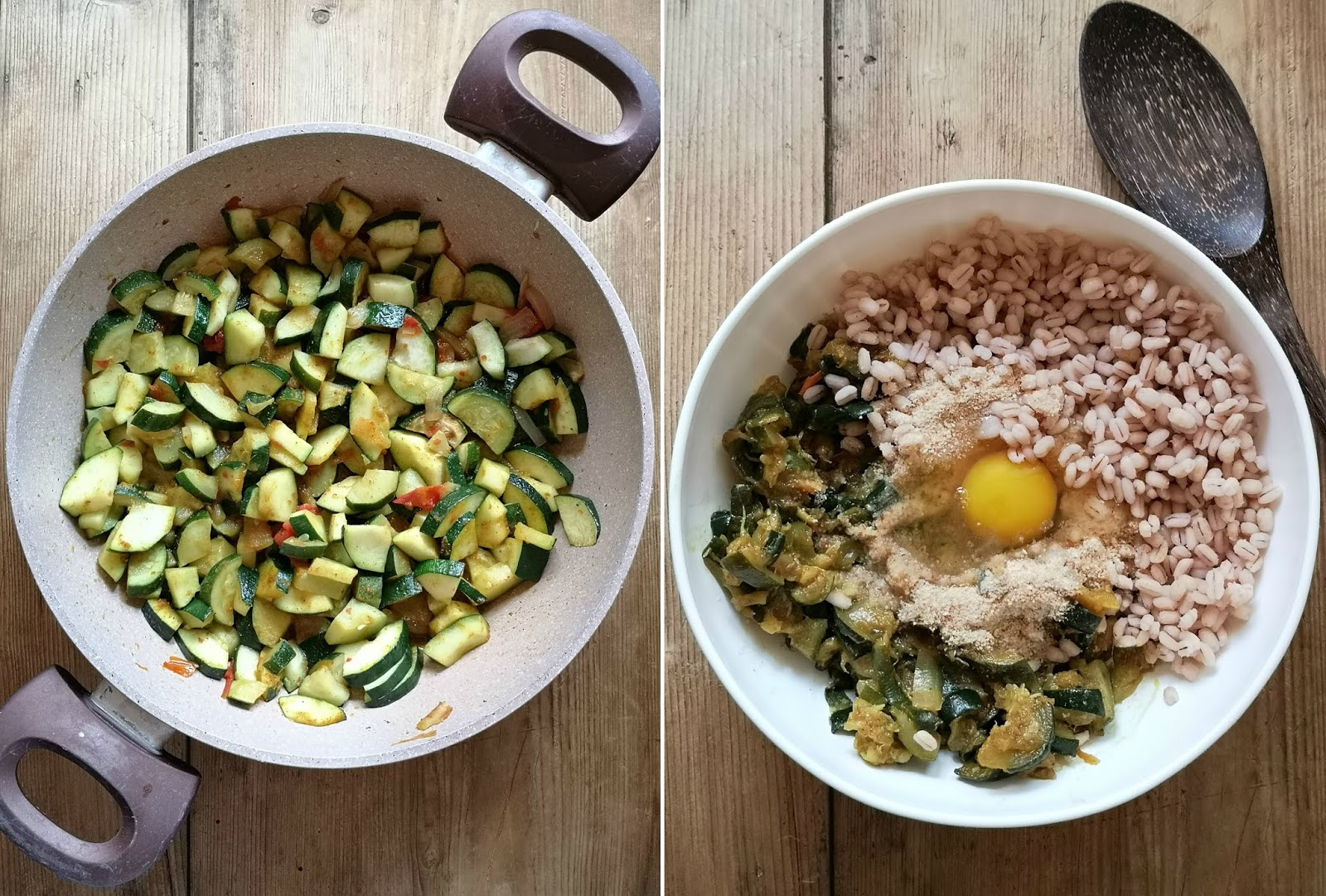 polpettine vegetariane di zucchine orzo e curry