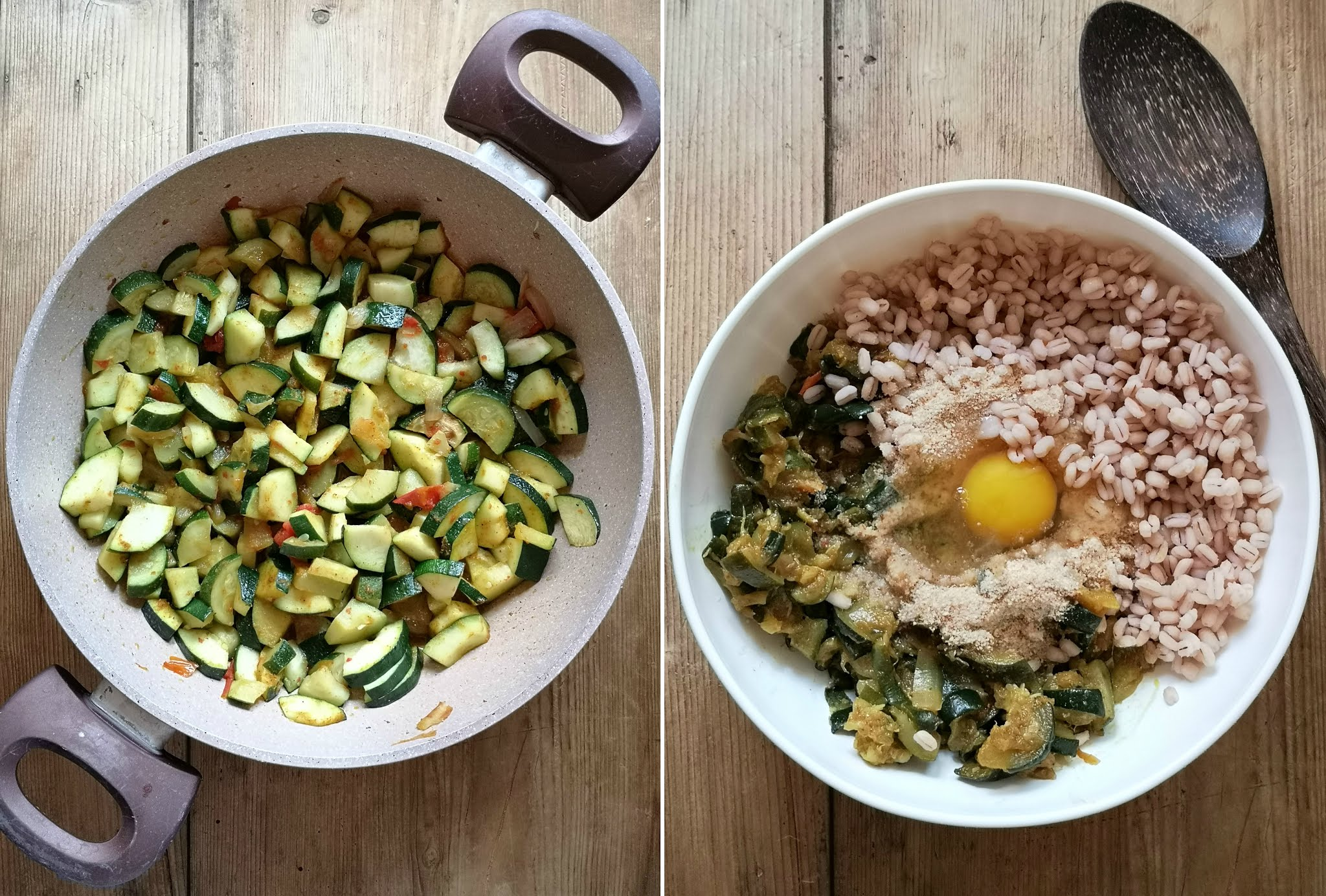 polpettine vegetariane di zucchine orzo e curry