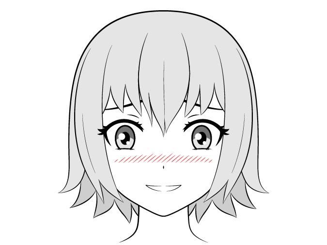 Gadis anime dengan blush on bergaris besar