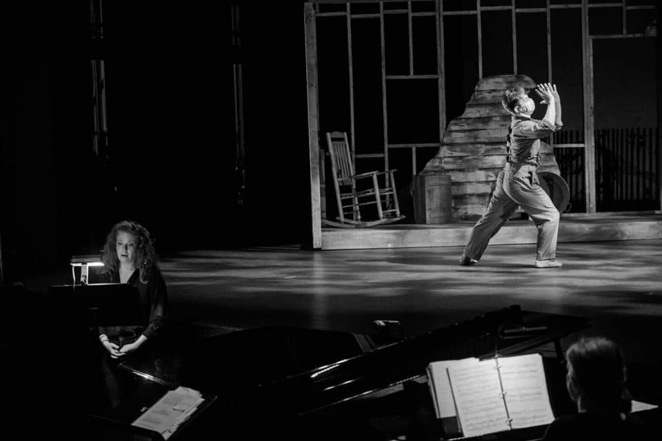 IN PERFORMANCE: soprano JODI BURNS (left) and a member of WINSTON-SALEM FESTIVAL BALLET in rehearsal for Kenneth Frazelle's FROM APPALACHIA in Piedmont Opera's October 2020 production ECHOES FROM CAROLINA [Photograph © by André Dewan Peele]
