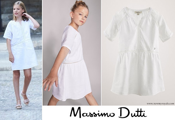 Infanta Sofia wore Massimo Dutti Linen Dress with lace trims