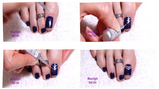 Dark blue Pedicure with Silver and Rhinestone Decoration: Toenails Design Tutorial