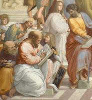 No afresco de Rafael, a Escola de Atenas, Pitágoras é mostrado escrevendo em um livro