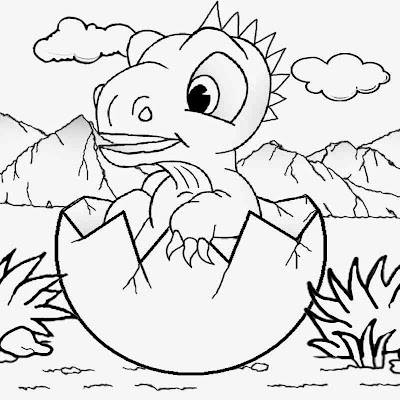 Cretaceous period volcanic mountain range emerging cute baby dinosaur egg to color for kindergarten