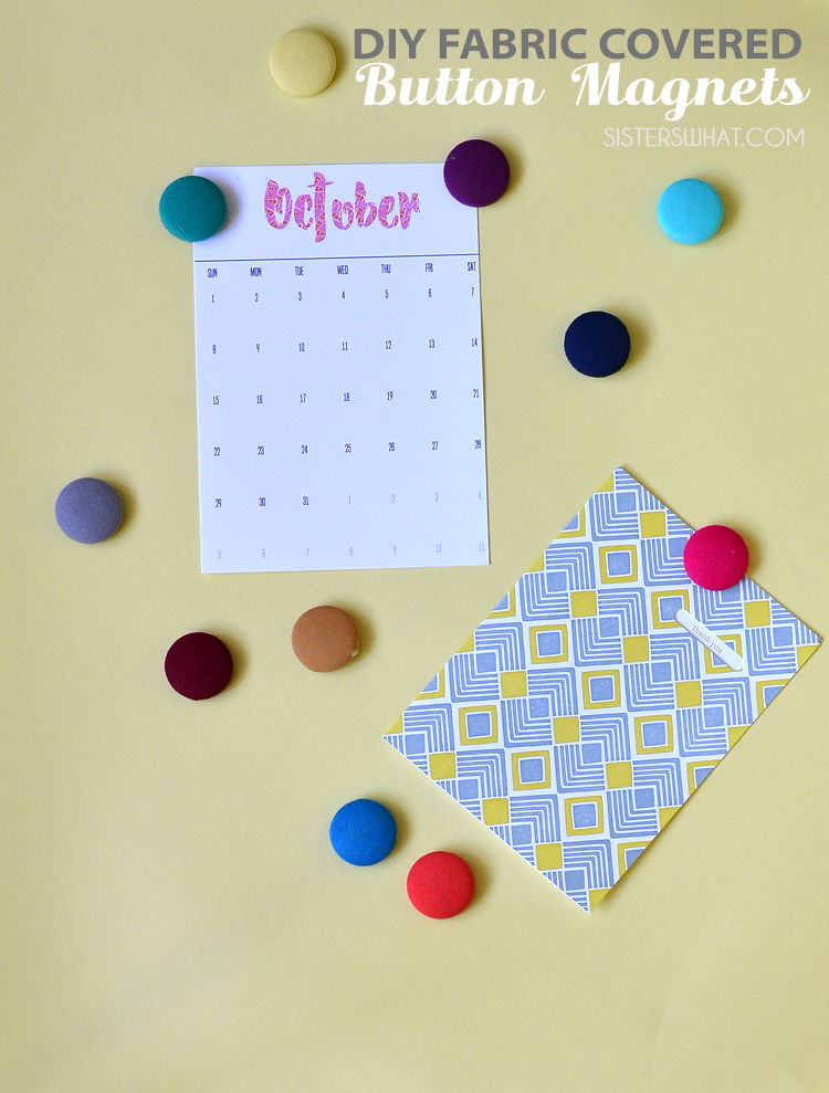 DIY Fabric Covered Button Magnets no sew with scrap fabric