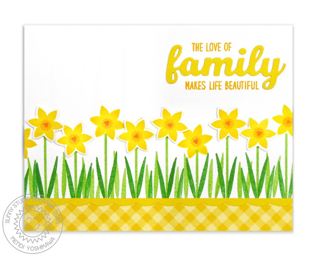 Sunny Studio Stamps: Friends & Family Daffodil Border Card by Mendi Yoshikawa