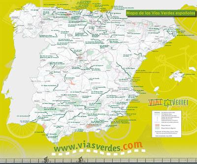 Mapa de las Vías Verdes de España