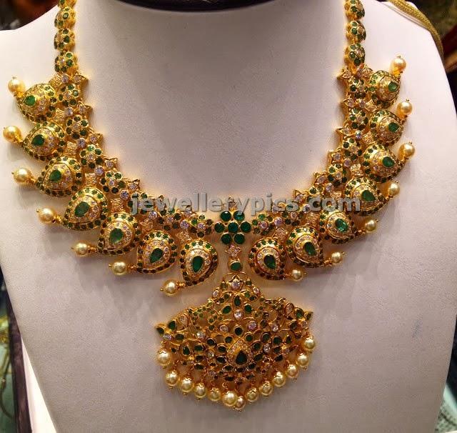 Emerald Stone Mango Necklace Latest Jewellery Designs