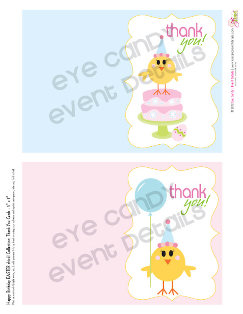 thank you cards, happy birthday easter chick, easter birthday thank you cards