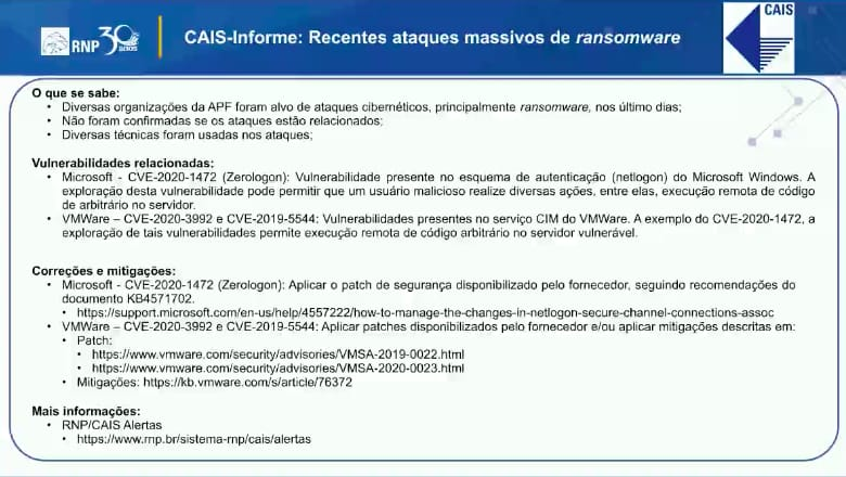 cais informe recentes ataques massivos de ransomware