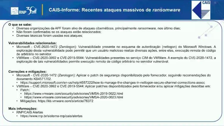 cais informe recentes ataques massivos de ransomware