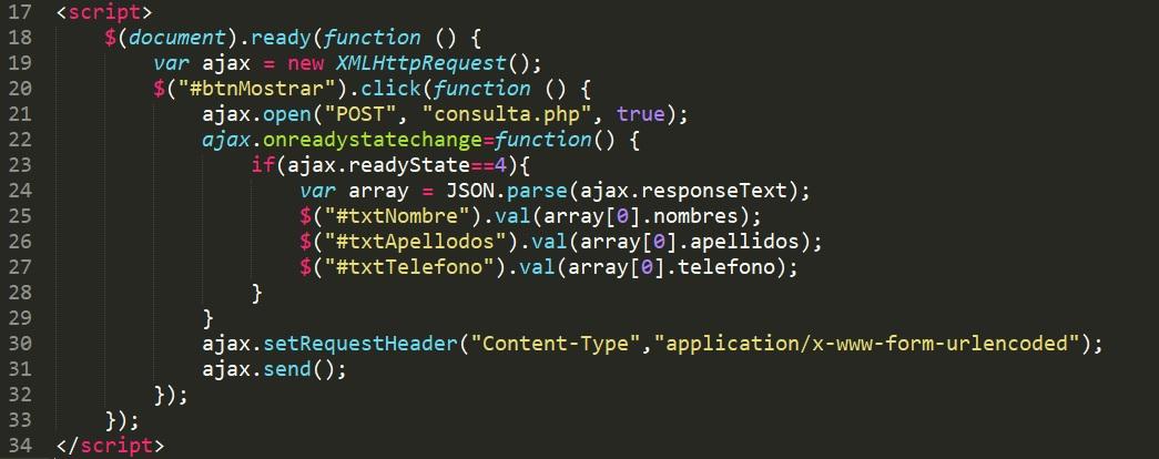 Acceder a valores en MySQL desde JavaScript con AJAX