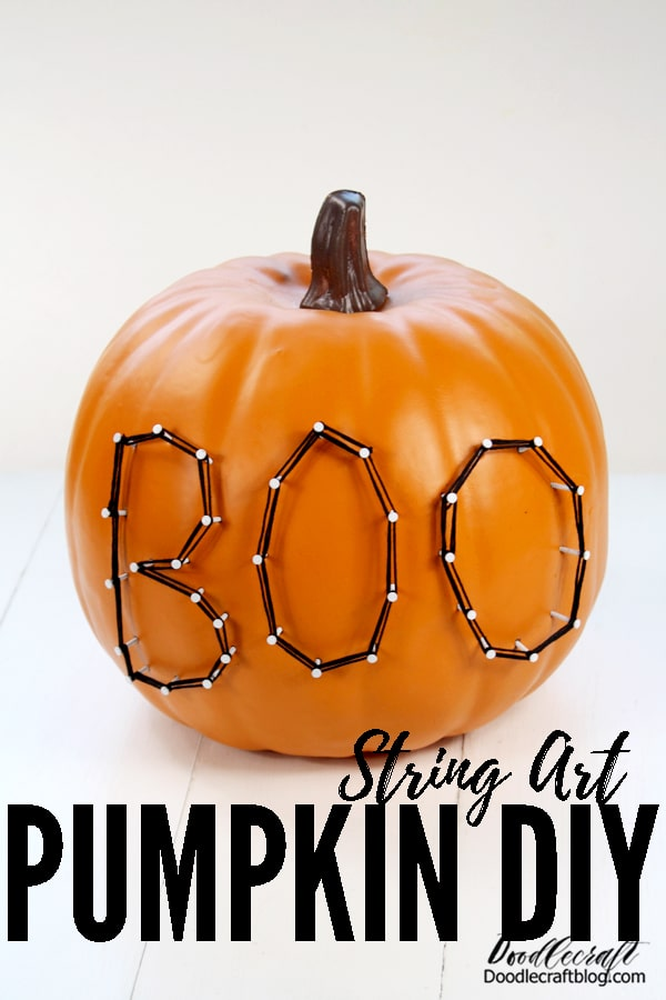 Make fun Halloween string art pumpkins with Oriental Trading craft pumpkins and embroidery floss.