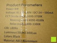 Spezifikation: CRECO 7W LED Tischlampe 5 Helligkeitsstufen 3 Modi dimmbar 270° drehbar Schreibtischlampe Schwarz [Energieklasse A+]