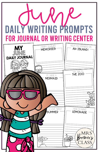 June writing prompt templates for daily journal writing or the writing center in Kindergarten First Grade Second Grade