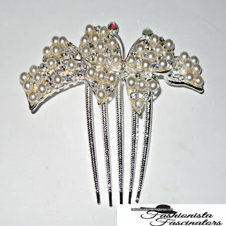 silver butterfly side comb with white pearls Nairobi Kenya