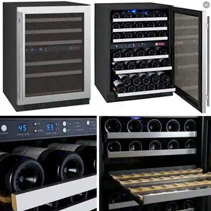 Allavino Wine Refrigerator: Dual Temperature Zone Fridge with Digital Display, Button Controls, Indicator Lights..