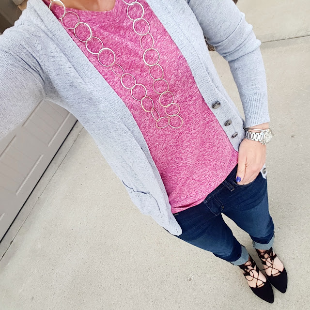 Mossimo Cardigan (similar) // Old Navy Tank - I love the way this fits! // Joe's Jeans Clean Cuffed Cropped Denim // Mossimo Lace-Up Flats // Michael Kors Runway Watch // ILY Couture Knot Bracelet