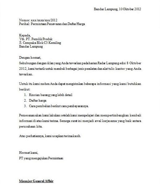 Contoh Surat Permintaan Barangjasa Yang Benar Nizasyazre Blog