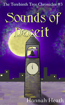 Book cover for Sounds of Deceit: A bell tower against a purple night sky and a glowing yellow moon.
