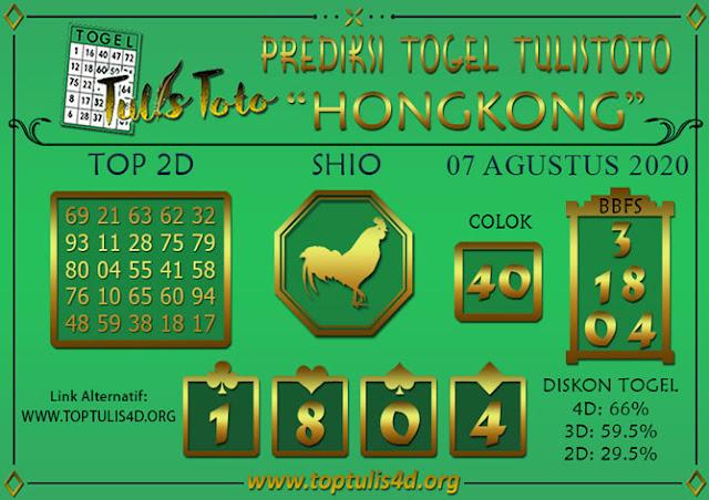 Prediksi Togel HONGKONG TULISTOTO 07 AGUSTUS 2020