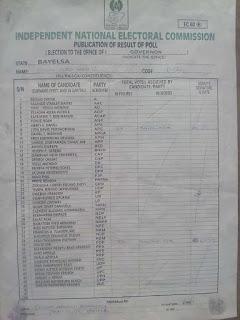Bayelsa Governorship Results