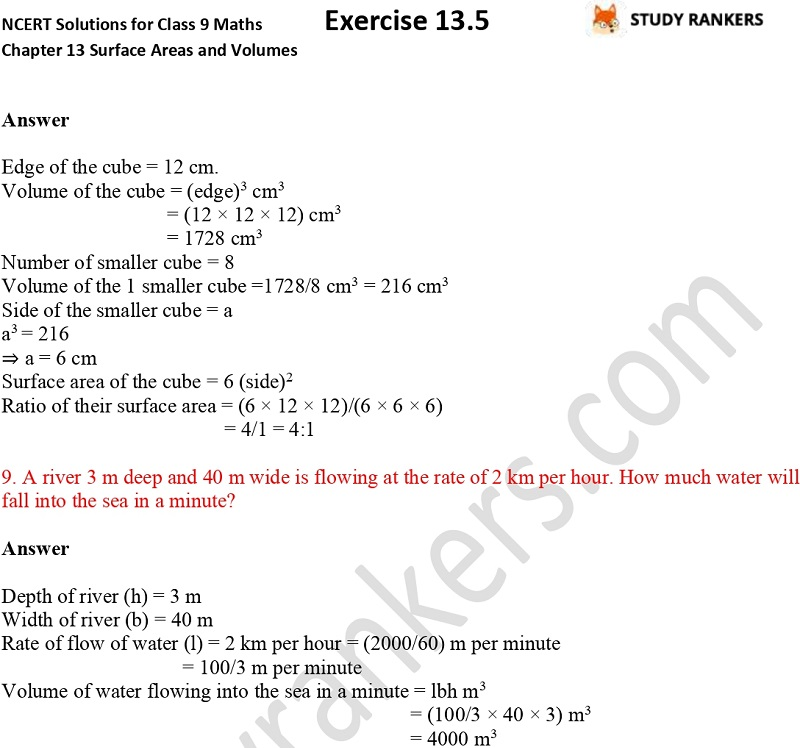 NCERT Solutions for Class 9 Maths Chapter 13 Surface Areas and Volumes Exercise 13.5 Part 3