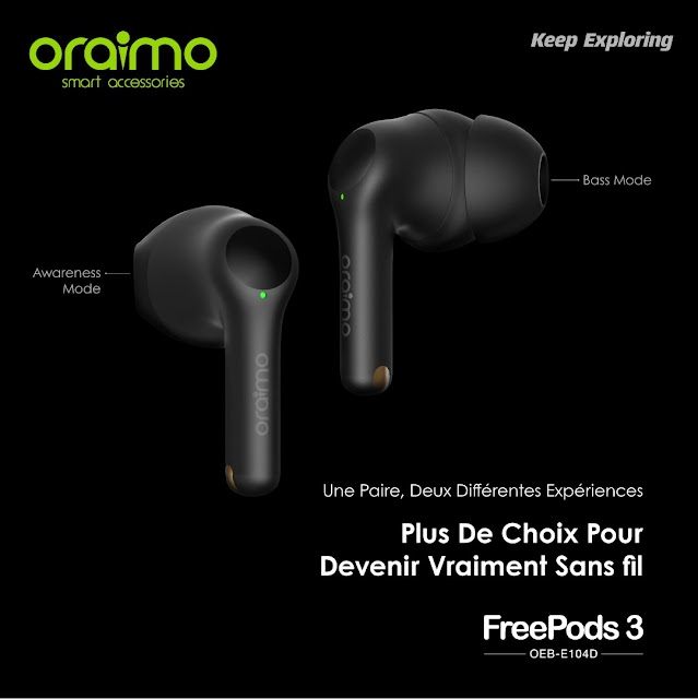 Oraimo FreePods 3 Original Écouteur sans fil stéréo noire   Meilleur Prix Maroc   Fiche technique   Marrakech