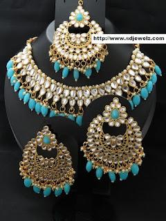 Indian Jewellery In Chandbali Kundan Necklace Set