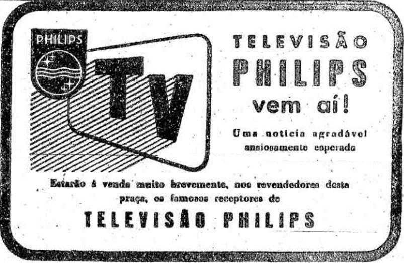 Propaganda antiga da Philips fazendo expectativa do lançamento do seu aparelho de TV