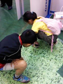 フロアマットの中に隠れた虫を探す子どもたち