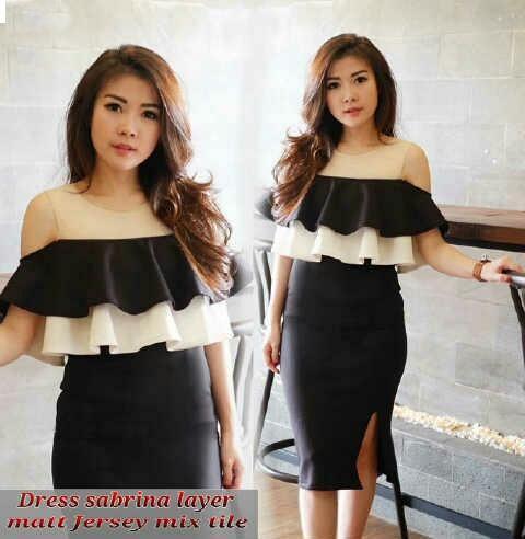 Jual Dress Dress Sabrina Black And White - 12916