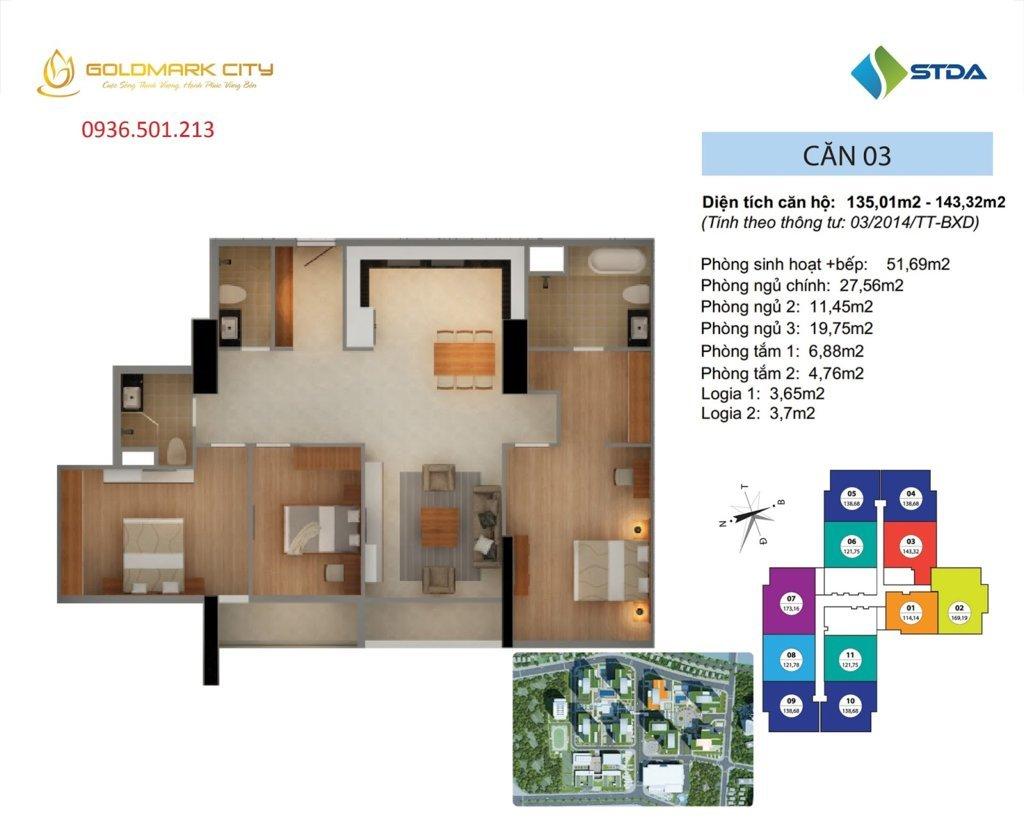Mặt bằng căn hộ số 03 Ruby 1- Dự án Goldmark City