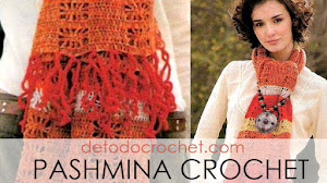 Pashmina tejida a crochet con punto araña