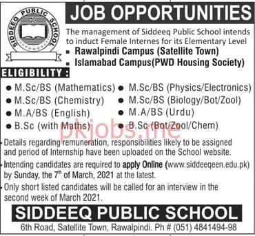 Latest Siddeeq Public School Teaching Posts 2021