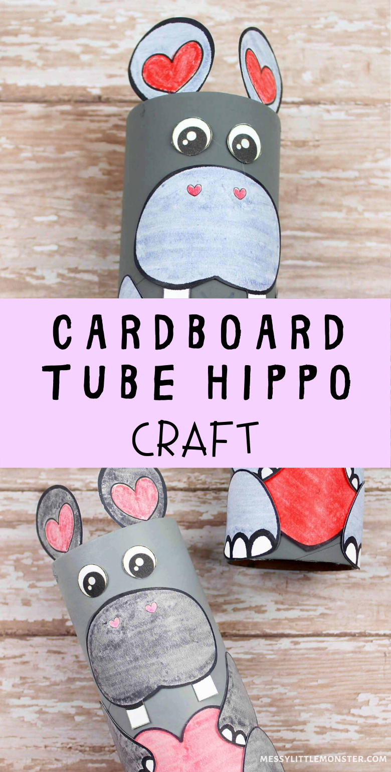 An easy cardboard tube craft with printable hippo template to make a hippo craft for kids