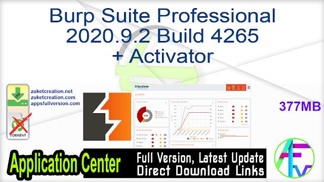 Burp Suite Professional 2020.9.2 Build 4265 + Activator