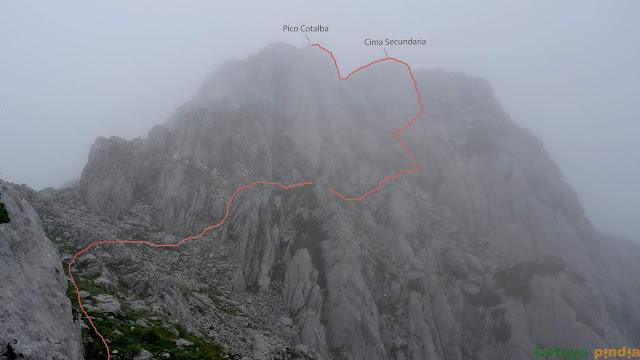 camino aproximado que seguimos hacia el Pico Cotalba en Picos de Europa